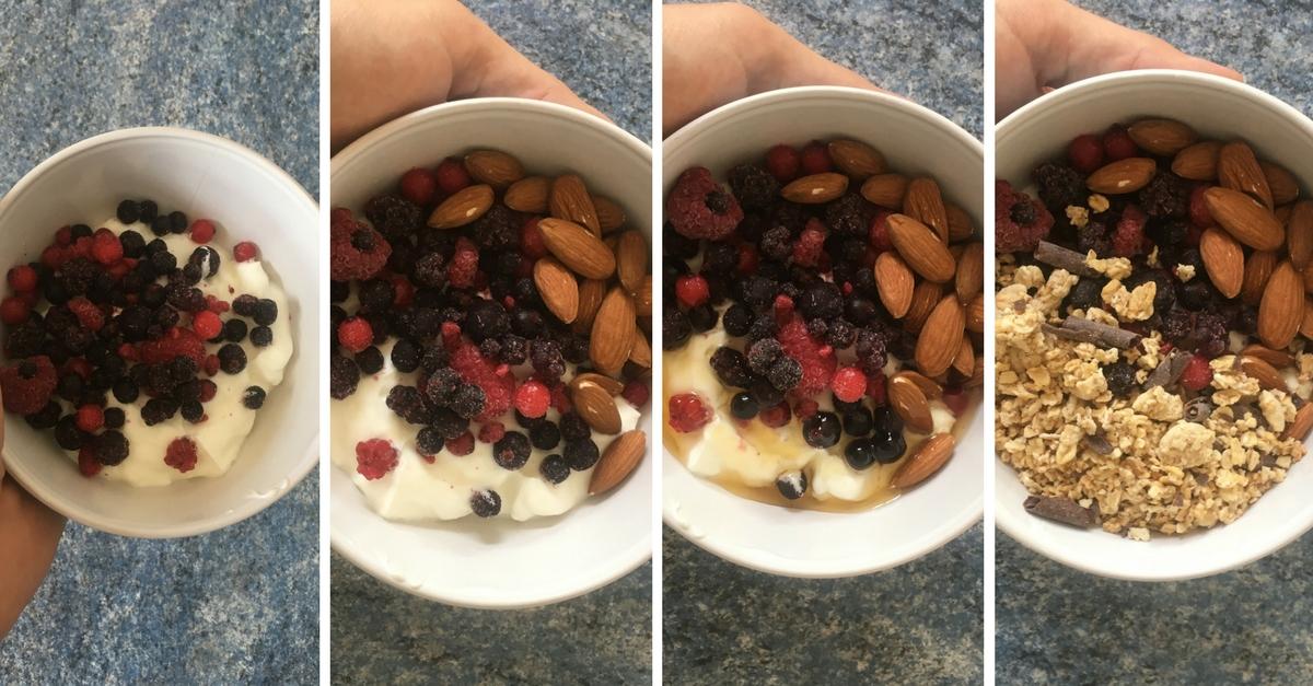 Recette petit-déjeuner: Fromage blanc fruits rouges & amandes